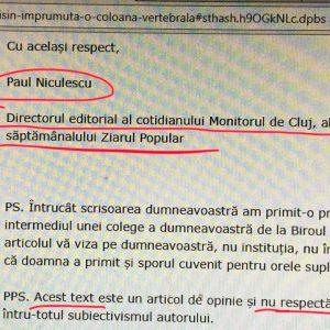 Niculescu recunoaște că nu respectă regulile jurnalistice.