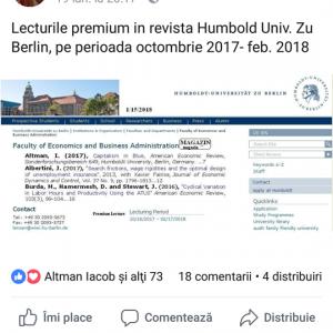 Anuntul cu lecturile ppremium la Univ. din Berlin